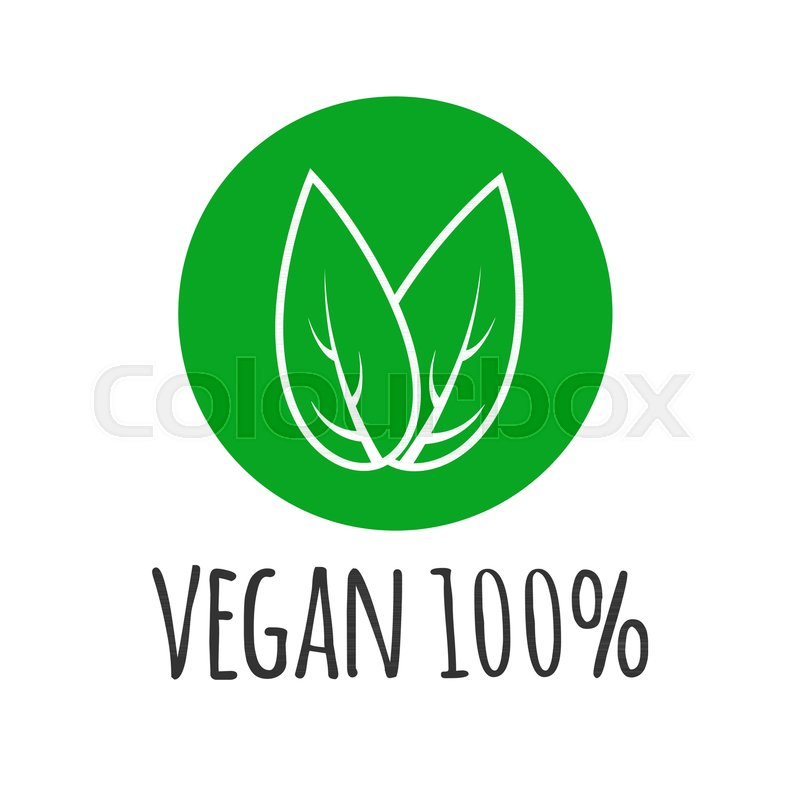 800x800 Round Eco, Green Logo. Vegan Vector Logotype. Vegan Food Sign With