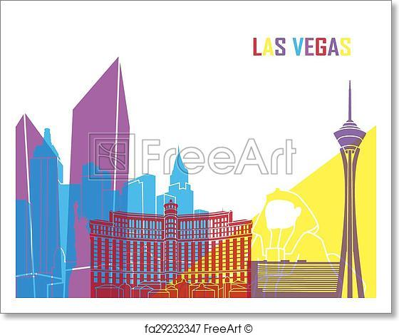 560x470 Free Art Print Of Las Vegas Skyline Pop. Las Vegas Skyline Pop In