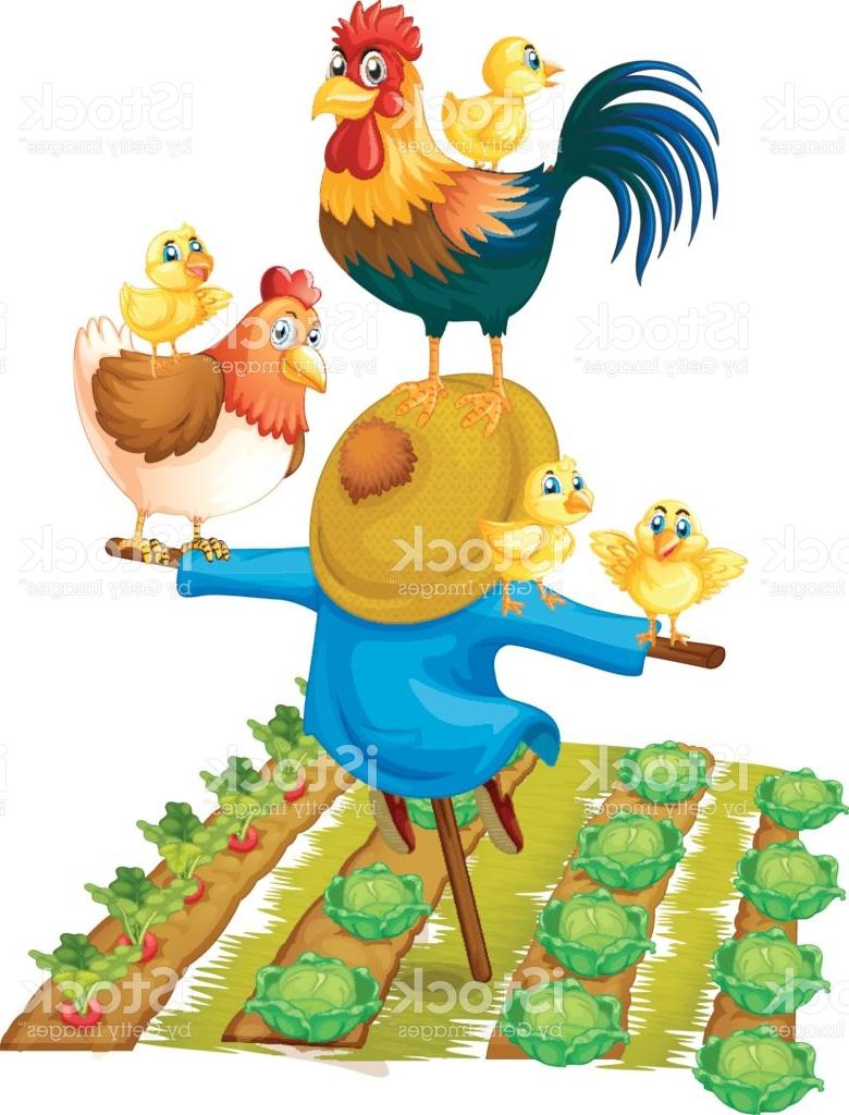 780x1024 Scarecrow And Chickens In Vegetable Garden Vector