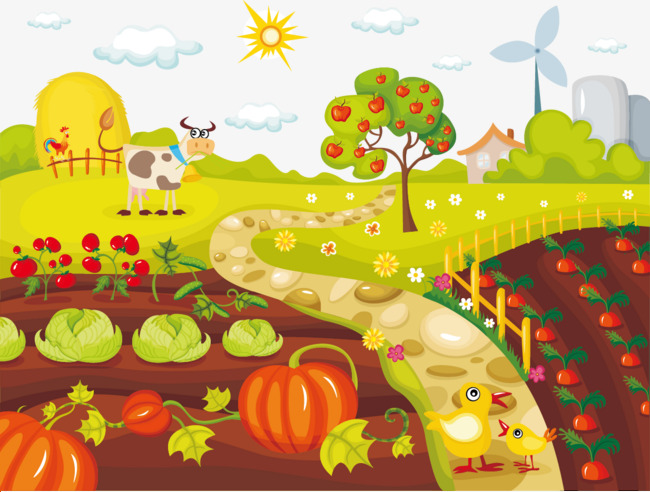 650x492 Vegetable Farm Chickens And Cattle Vector, Vegetable Garden, Farm