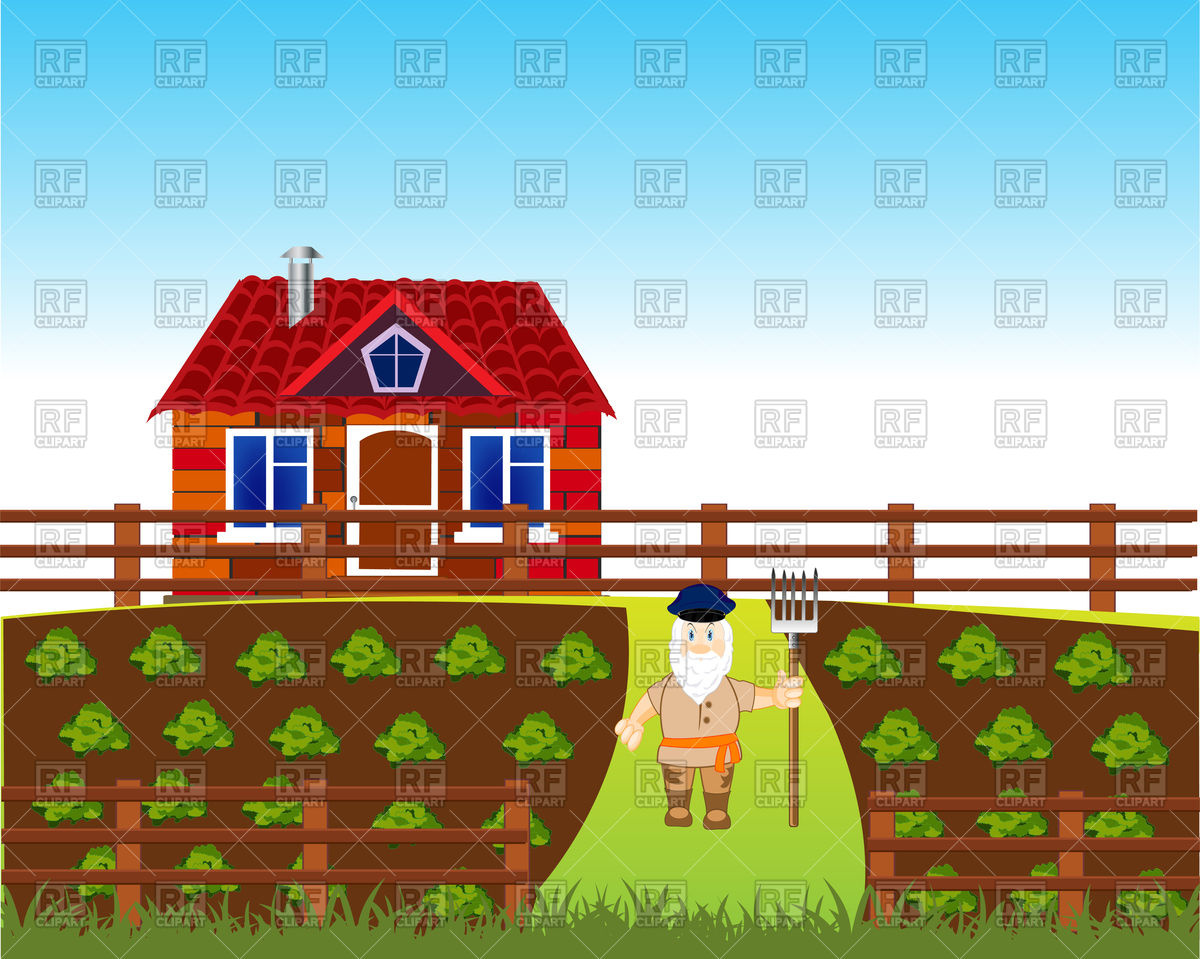1200x959 Area With Vegetable Garden And House, Farmer With Pitchfork Vector