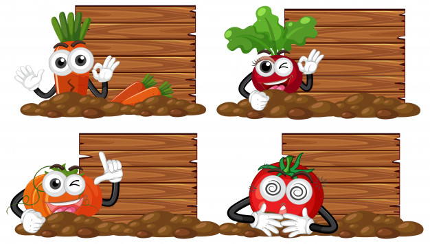 626x355 Wooden Boards With Fresh Vegetable Garden Vector Premium Download