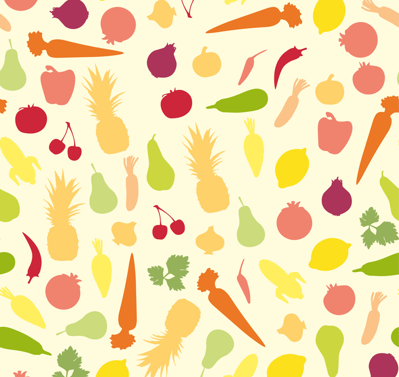 800x756 Preview Color Fruits Vegetables Seamless Background Vector