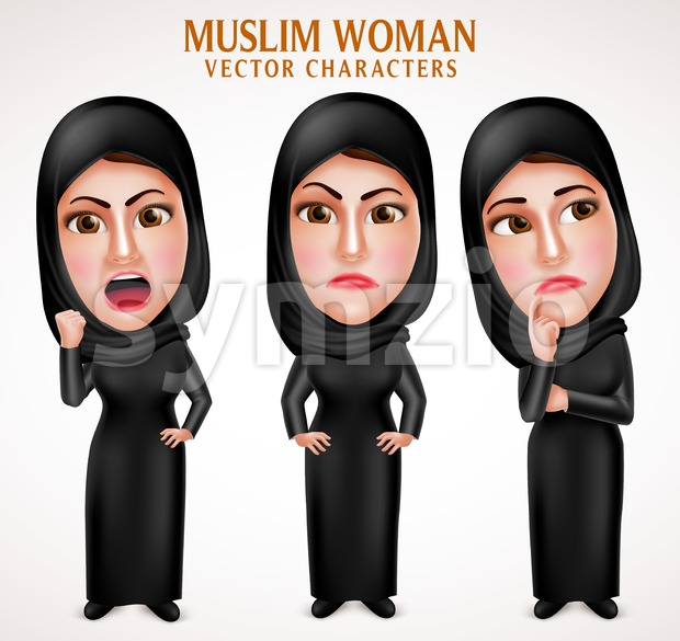 620x585 Angry Muslim Arab Woman Vector Characters With Veil Vector
