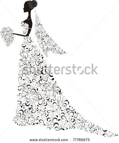 392x470 Beautiful Bride With Floral Dress And Veil. Vector Illustration