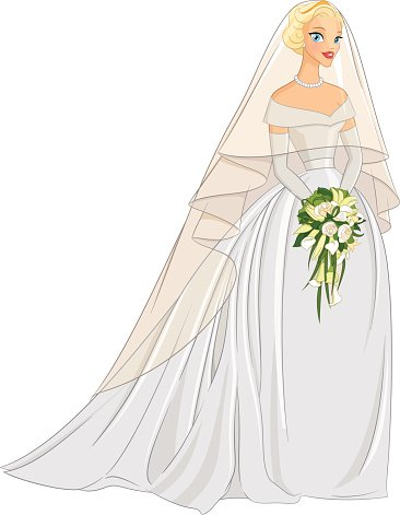366x471 Blonde Bride With Veil And Vector Stock Vectors