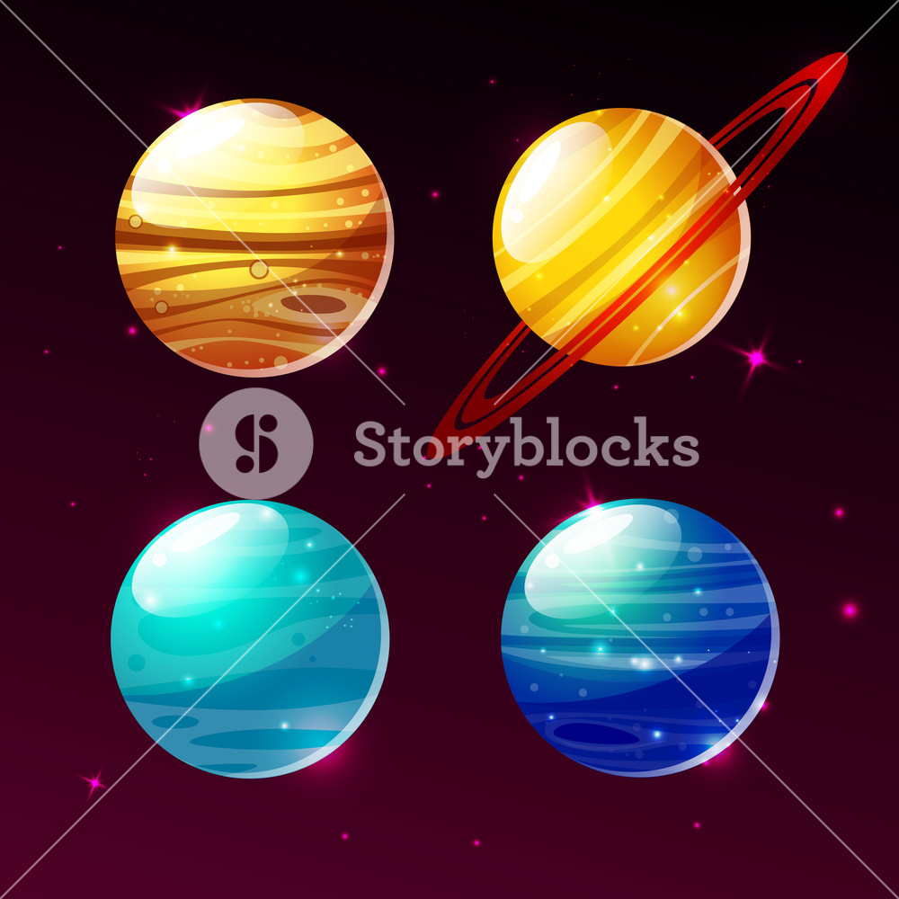 1000x1000 Planets Of Galaxy Vector Illustration Icons Of Cartoon Mars