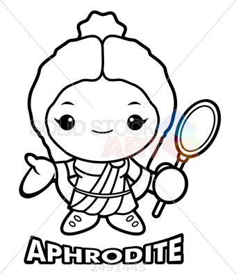 340x395 Stock Illustration Of Black And White Aphrodite Mascot The Goddess