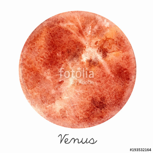 500x500 Watercolor Venus Planet Vector Illustration Stock Image And
