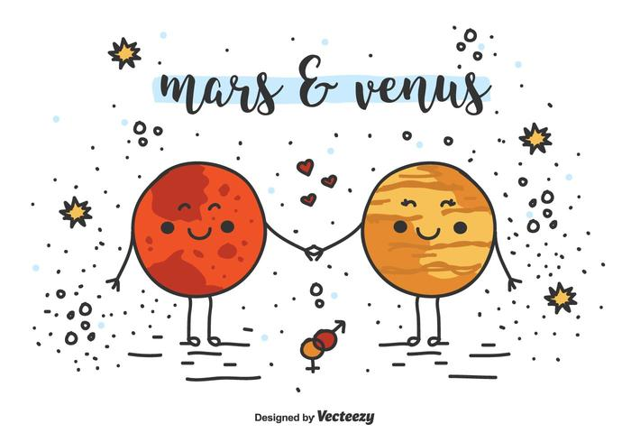 700x490 Mars And Venus Vector Background