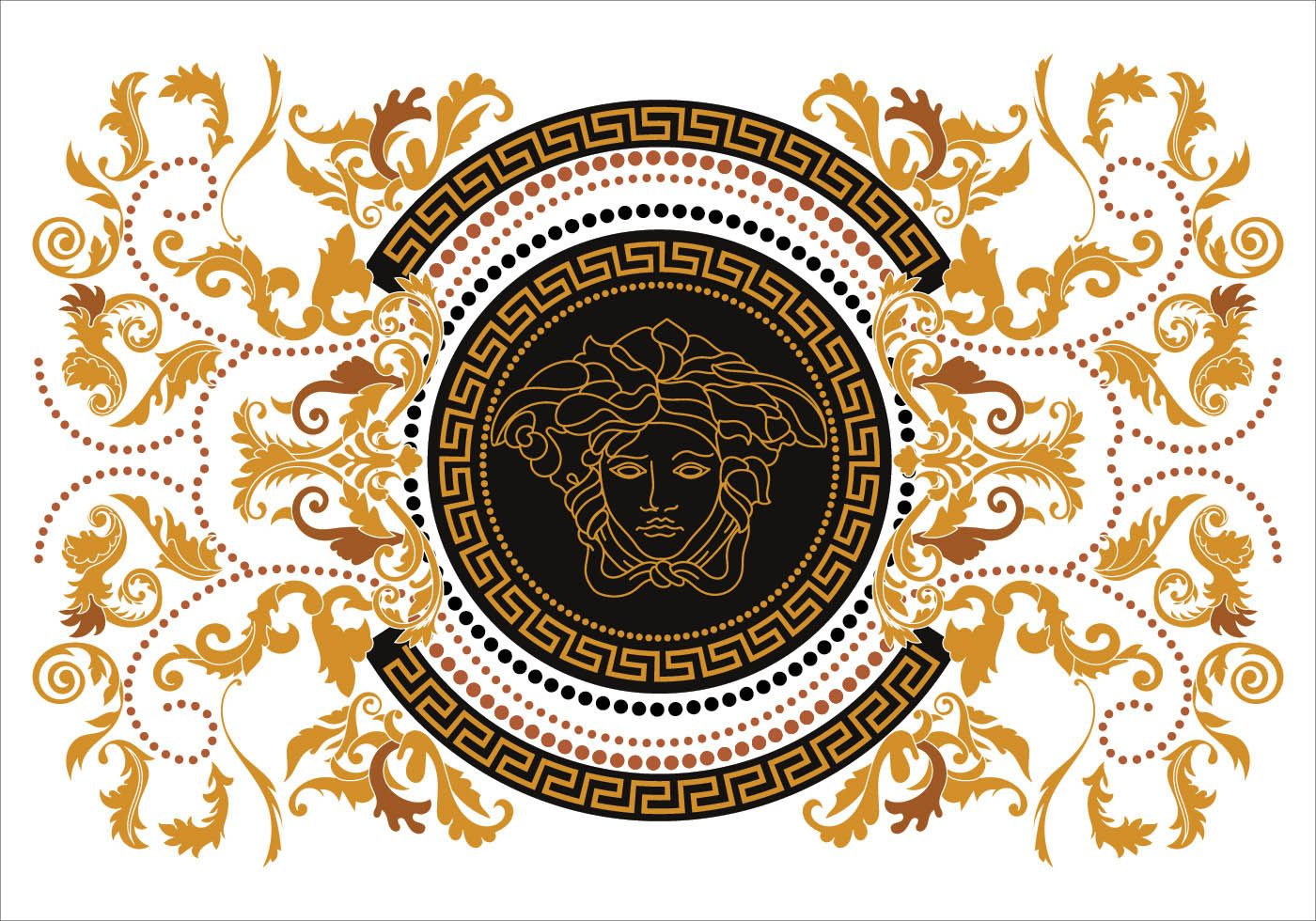 1400x980 Modern Border Vector Illustration Versace Style With Gold Vintage