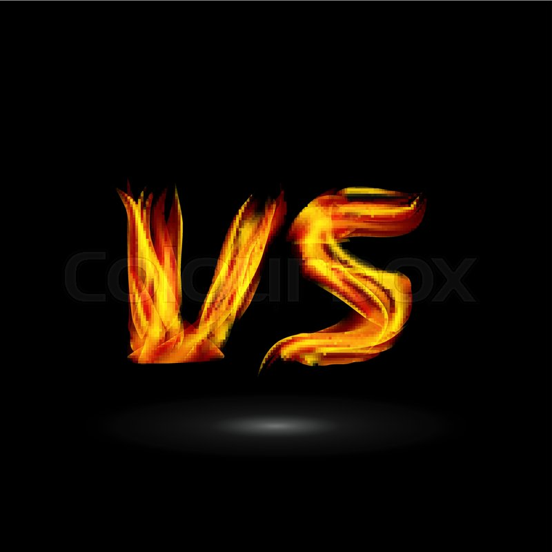 800x800 Versus Vector. Flame Letters Fight Background Design. Competition