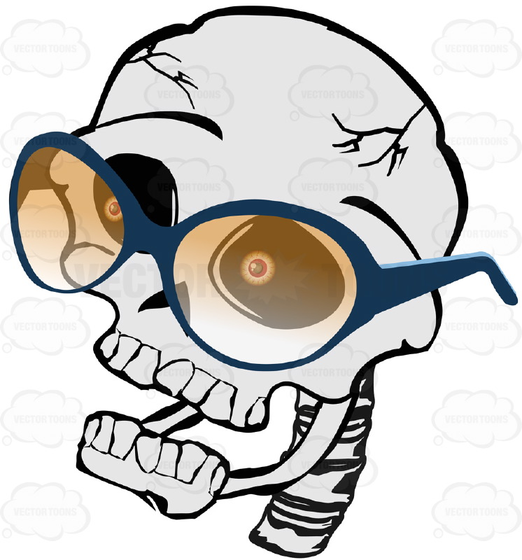 746x800 Cartoon Skull Looking Left Wearing Yellow Shaded Glasses With