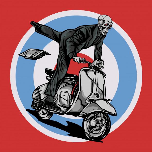 626x626 Vespa Scooter Mod Ride By Skull Vector Premium Download