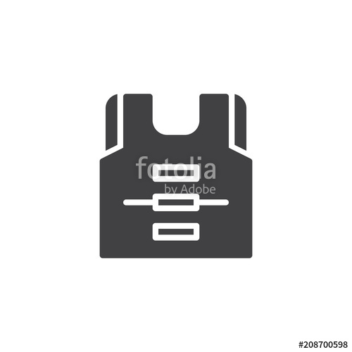 500x500 Life Vest Vector Icon. Filled Flat Sign For Mobile Concept And Web