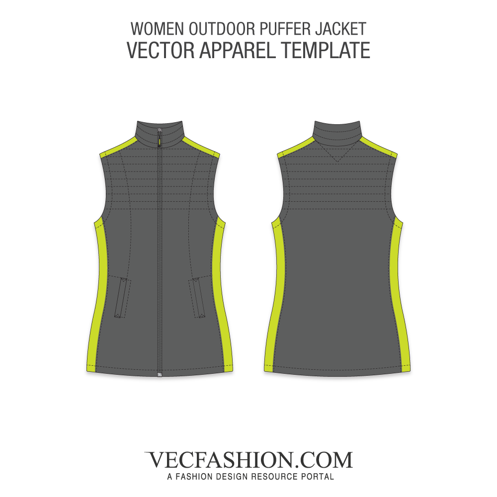 1000x1000 Outdoor Puffer Vest Vector Template