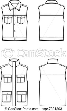 283x470 Vest. Vector Illustration Of Waistcoat. Front And Back. Clothes In