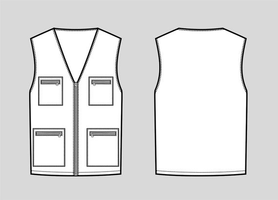 570x409 Work Vest Vector Fashion Flat Sketch Adobe Illustrator Etsy