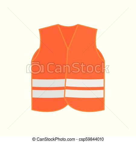 450x470 Flat Vector Icon Of Orange Safety Vest Waistcoat With Two