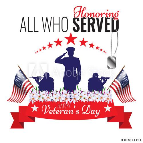 500x500 Veterans Day Background. Vector Veteran Greeting Card.