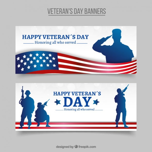 626x626 Elegant Veterans Day Banners With Silhouettes Vector Free Download