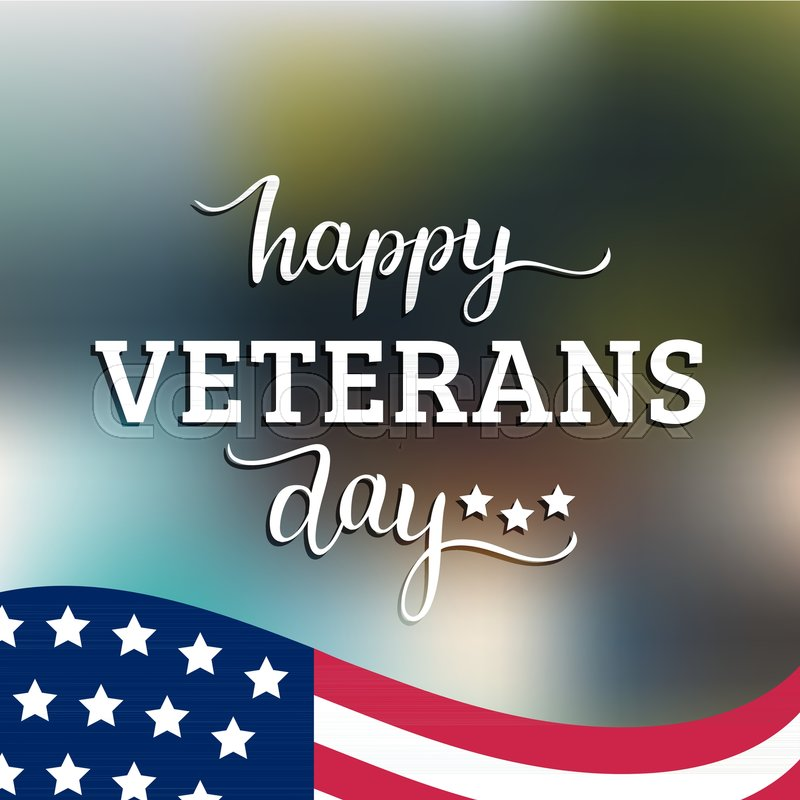 800x800 Happy Veterans Day Lettering With Usa Flag Vector Illustration