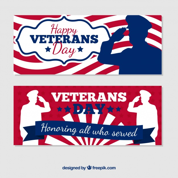 626x626 Retro Veterans Day Banners Vector Free Download