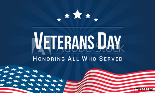 500x300 Veterans Day Vector Illustration, Honoring All Who Served, Usa