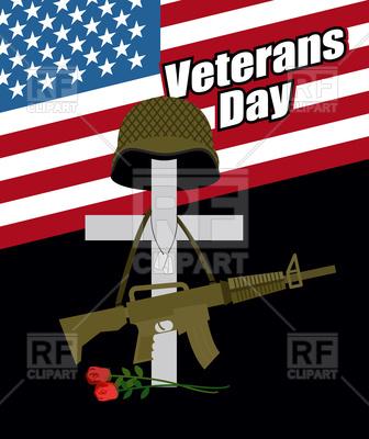 336x400 Veterans Day. Cross With Soldier Helmet. Vector Image Vector