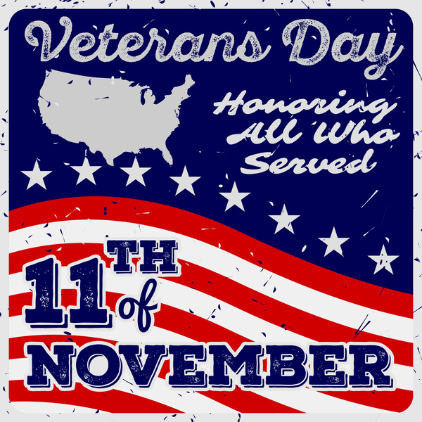 600x600 Veterans Day Grunge Template Vector 05 Free Download