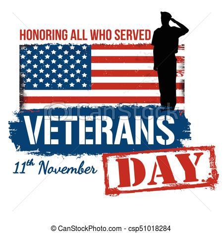 450x470 Veterans Day Poster On White Background, Vector Illustration.