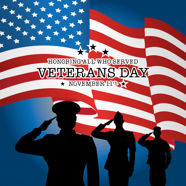 626x626 Veterans Day With Soldier And Flag Background Vector Premium