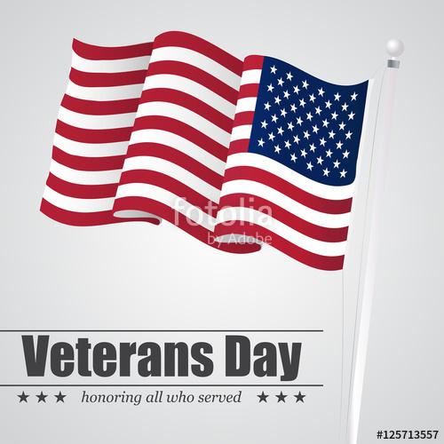 500x500 Waving Usa Flag For Veterans Day. Vector Illustration Stock Image