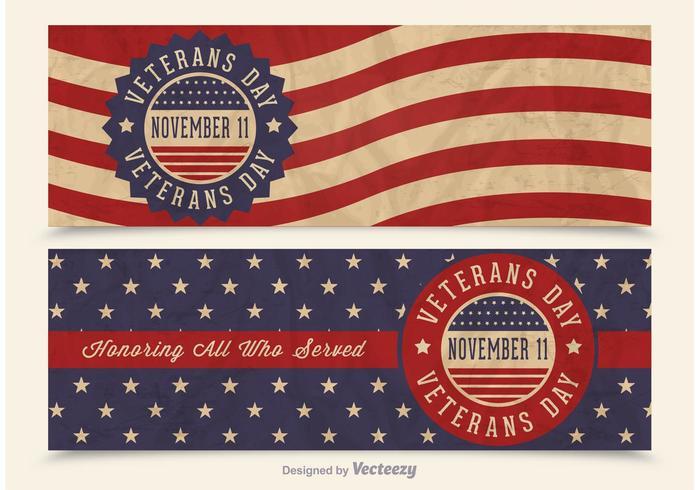 700x490 Free Veterans Day Vector Retro Banners