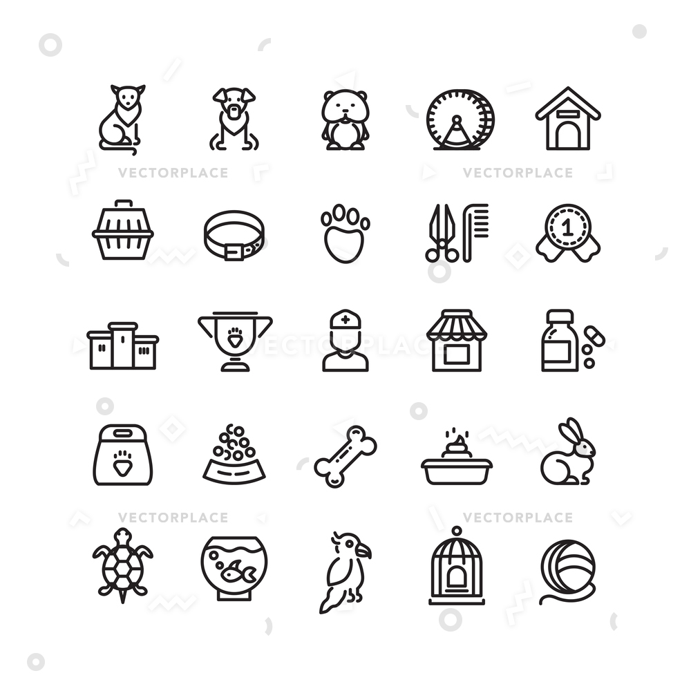 1000x1000 Pet Shop Animals Thin Line Icons Vector Illustration 31648