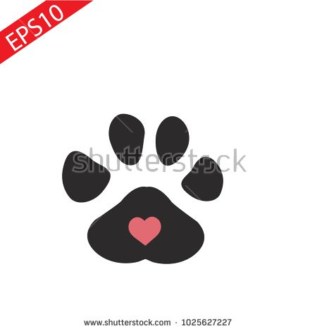 450x470 Black Pet Paw In Heart Icon