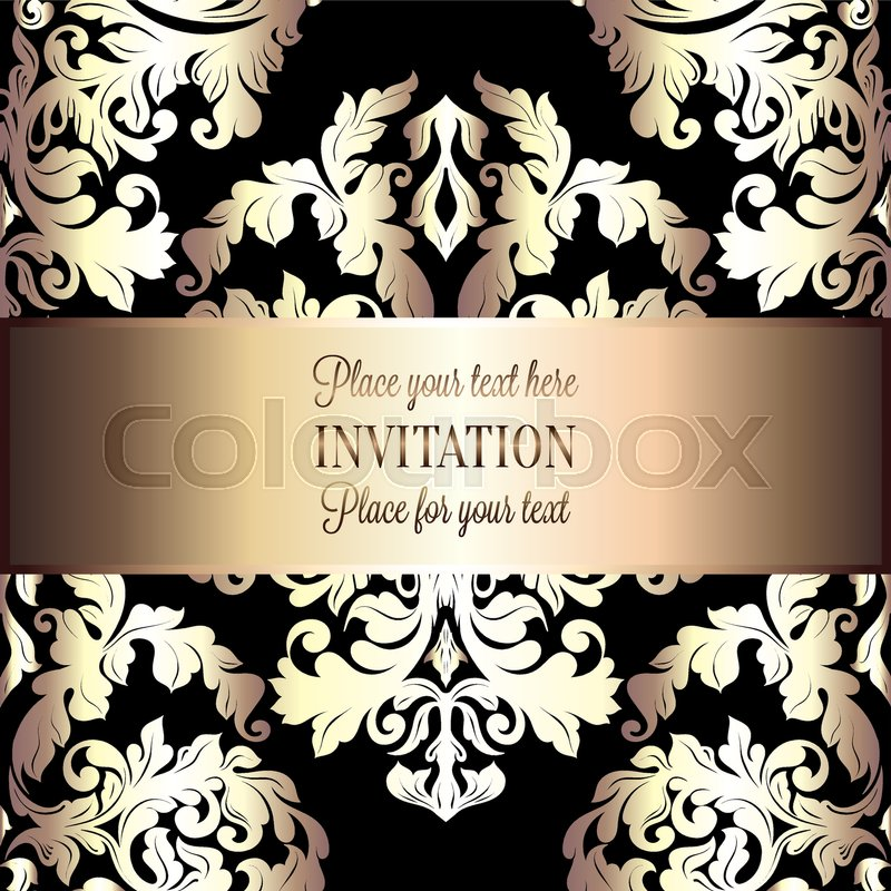 800x800 Baroque Background With Antique, Luxury Black And Gold Vintage