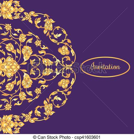 450x470 Floral Decorated Invitation Card With Antique, Luxury Violet