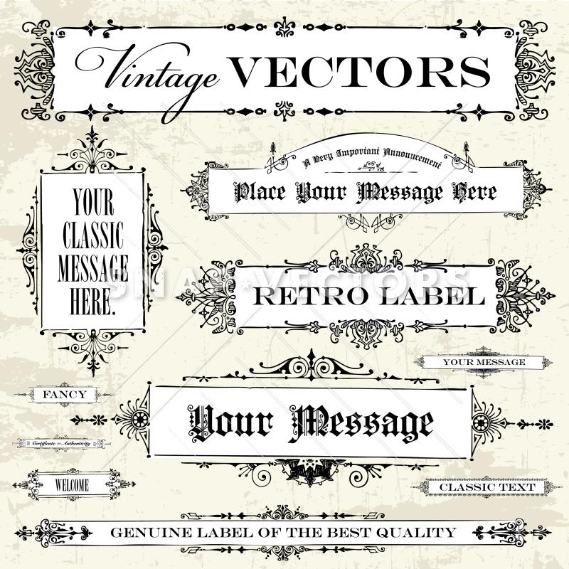 800x800 Vector Clipart Victorian Banner Frame Template Set