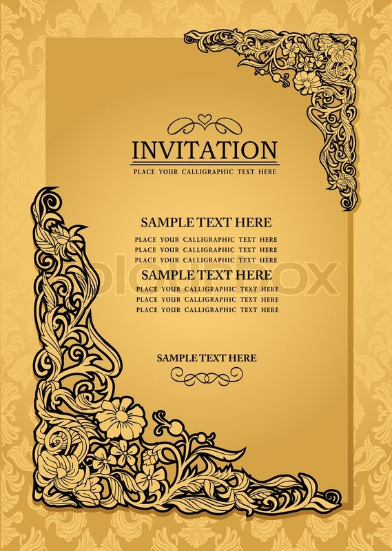 569x800 Abstract Background With Antique, Luxury Gold Vintage Frame