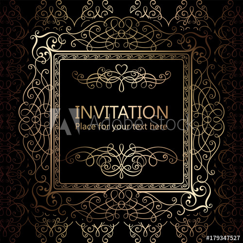 500x500 Abstract Background With Calligraphic Luxury Gold Flourishes And