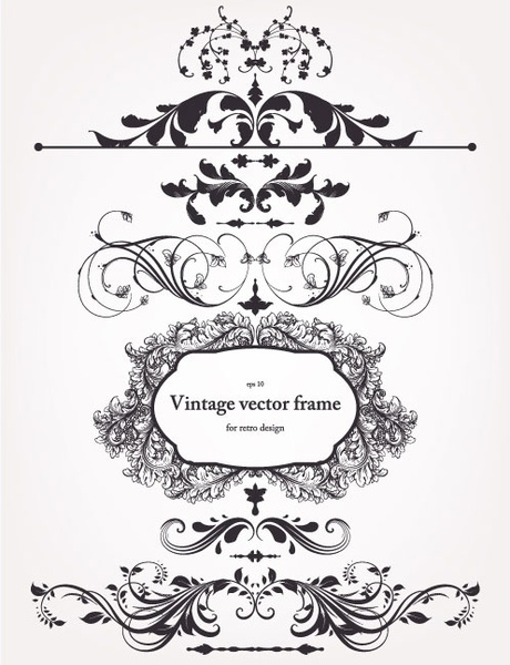 460x600 Europeanstyle Floral Border And Decorations 02 Vector Free Vector