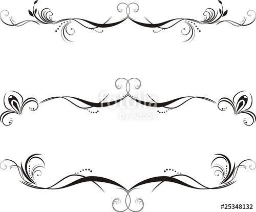 500x414 Three Decorative Floral Borders. Vector Stock Image And Royalty