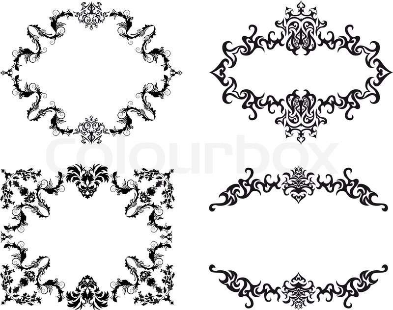 800x632 Abstract Floral Vector Frame Backgrounds Set In Victorian Style