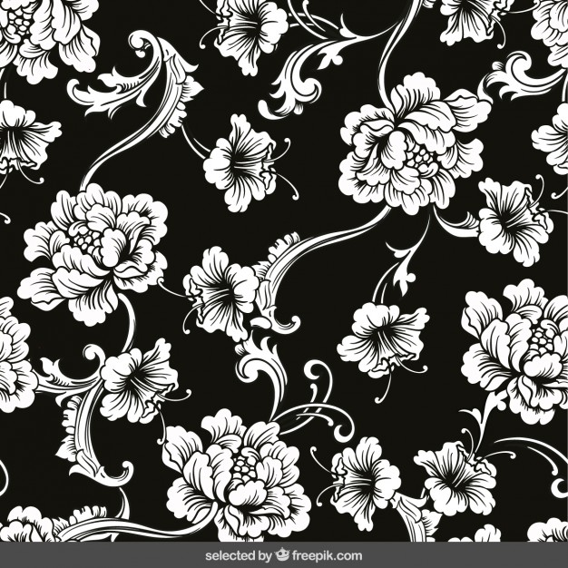 626x626 Floral Ornaments On Black Background Vector Free Download