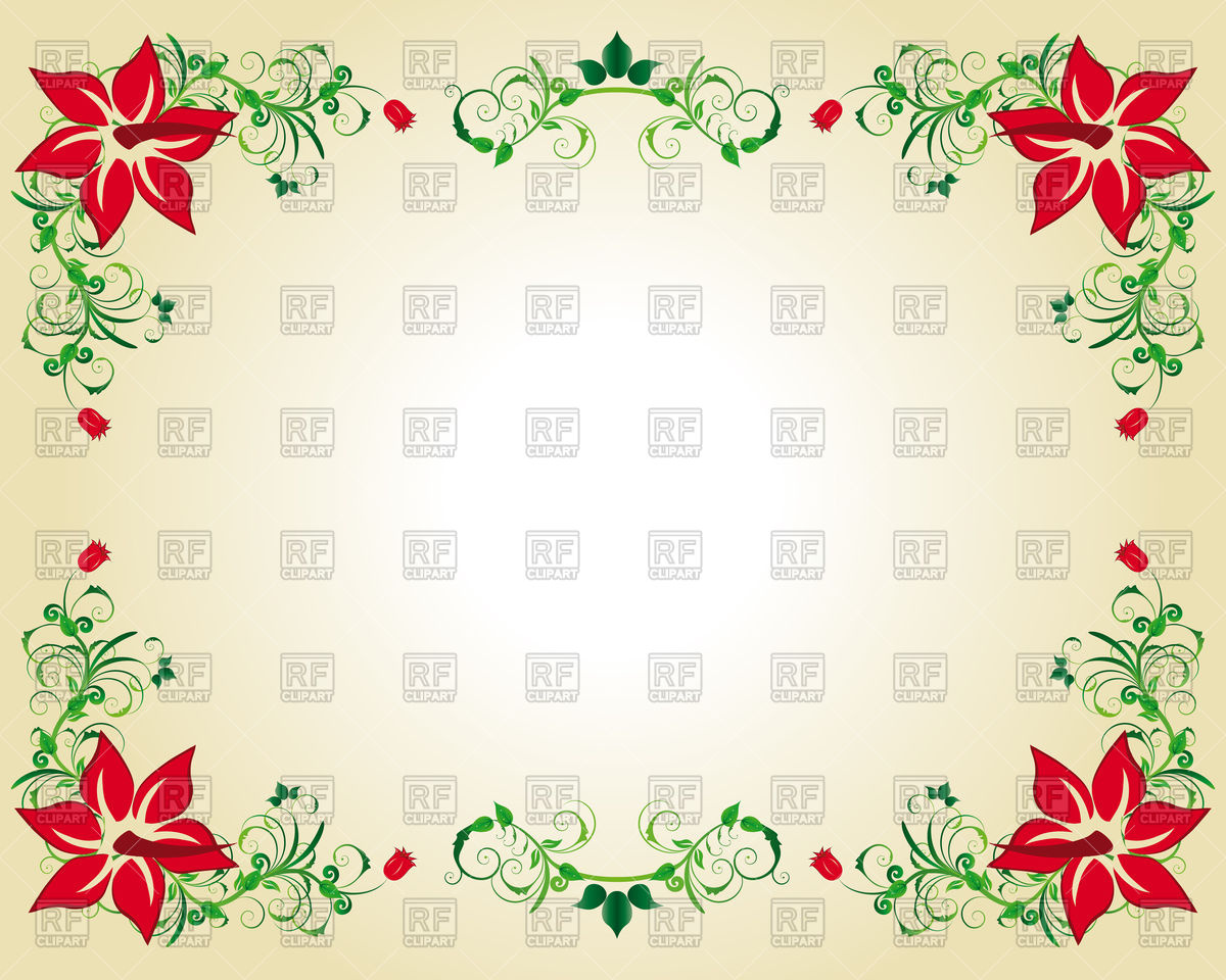 1200x960 Frame In Victorian Style With Red Flowers Vector Image Vector