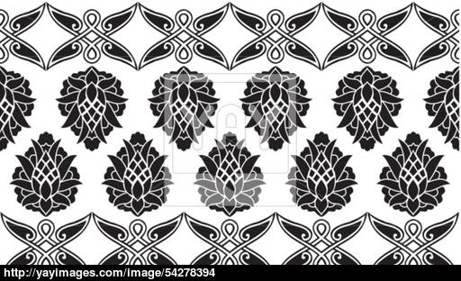 512x312 Seamless Damask Or Victorian Floral Black And White Vector Border