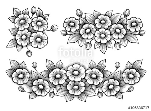 500x367 Set Flowers Daisy Bunch Vintage Victorian Floral Engraved Ornament