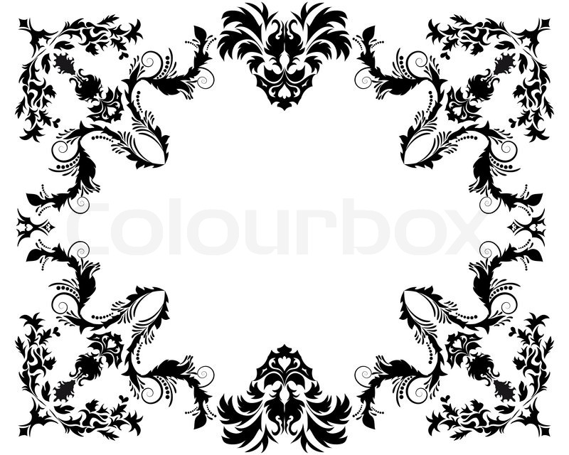 800x640 Abstract Floral Vector Frame Background In Victorian Style Stock