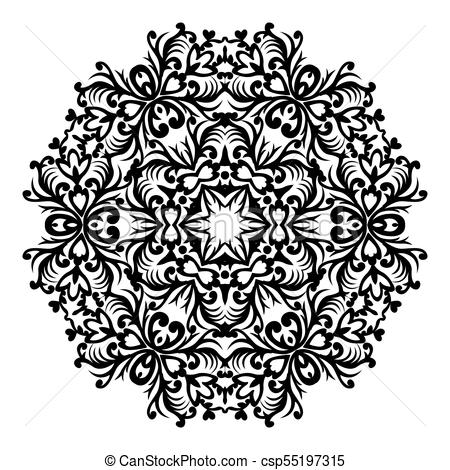 450x470 Vector Baroque Ornament In Victorian Style. Ornate Element For